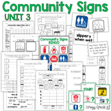 Community Signs Games and Worksheets - Unit 3 - for Special Education