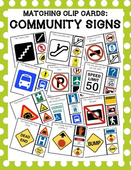 Community Signs Matching Clip Cards