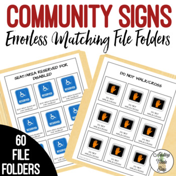 Community Signs Mobility Training Errorless File Folders