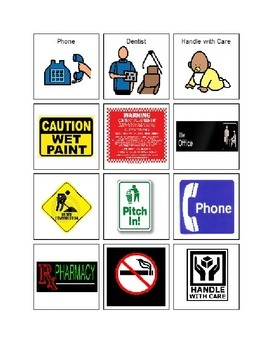 Community Signs Picture Vocabulary Cards