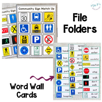 Community Signs Skill Pack Leveled for Special Education (Life Skills - Autism)