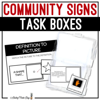 Community Signs Task Boxes - Picture to Definition