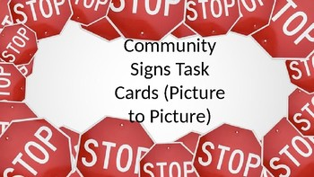 Community Signs Task Cards Picture to Picture (Clothes Pins)