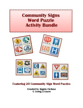 Community Signs Word Puzzle Activity Bundle: Featuring 20 Community Signs