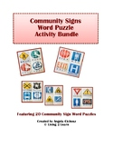 Community Signs Word Puzzle Activity Bundle: Featuring 20