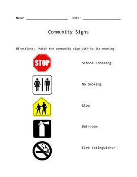 Community Signs Match and Fill In Worksheet