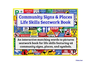 Community Signs and Places Vocabulary Seatwork Book for Life Skills