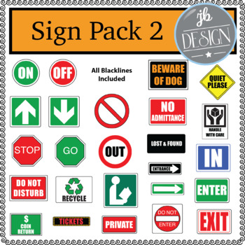 Community Street Signs 2 (JB Design Clip Art for Personal or Commercial Use)