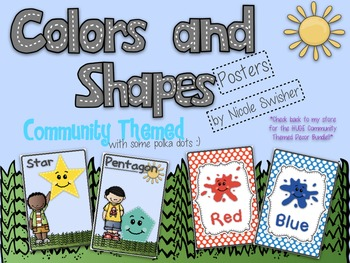 Community Themed Color and Shapes Posters!! (1/2 page posters)