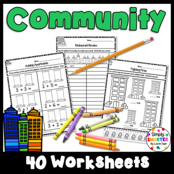 Community Themed Kindergarten Math and Literacy Worksheets And Activities