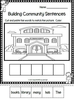 Community Themed Sentence Building Activities For GOOGLE CLASSROOM
