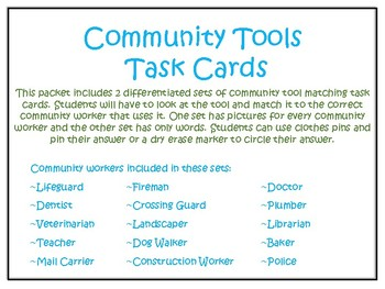 Community Tools and Workers Task Cards
