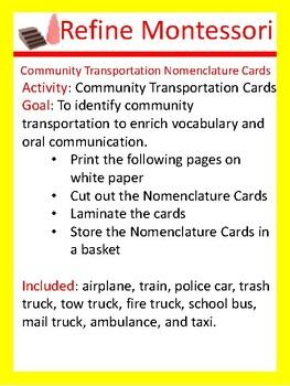 Community Transportation Nomenclature Cards