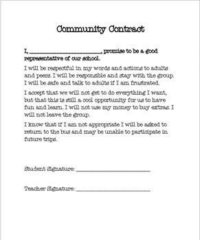 Community Trip Behavior Contract