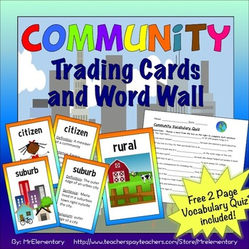 Communities Trading Cards and Word Wall