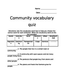 Community Vocabulary Quiz