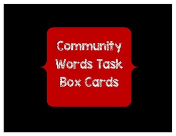 Community Words Task Box Cards