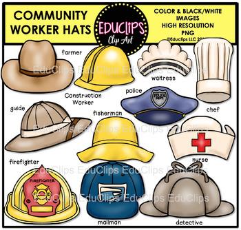 Community Worker Hats Clip Art Bundle {Educlips Clipart}