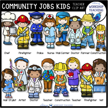 Community Worker Kids Clip Art Set (42 graphics)