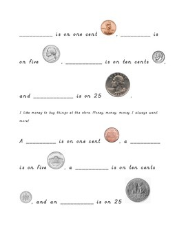 Money Homework Sheet For Young Students