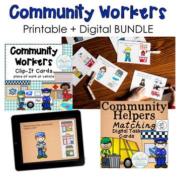 Community Workers BUNDLE (Clip it Cards + digital task cards)
