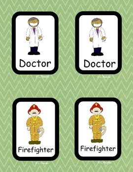 Community Workers Memory Game Cards