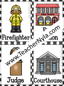 Community Workers and Buildings Memory Game