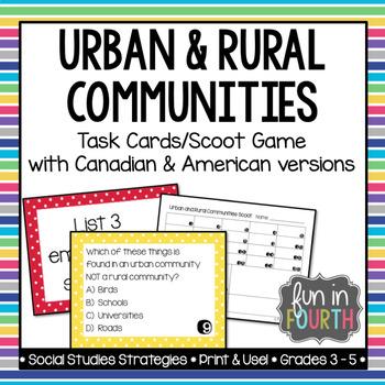 Urban and Rural Communities Scoot Game and Task Cards