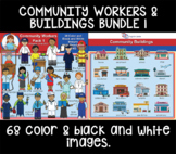 Clip Art - Community buildings and workers bundle 1