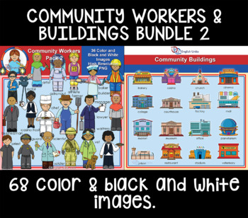 Clip Art - Community buildings and workers bundle 2
