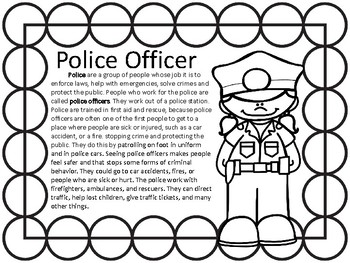 Community helper- Police Officer Coloring pages and INFORMATIONAL TEXT