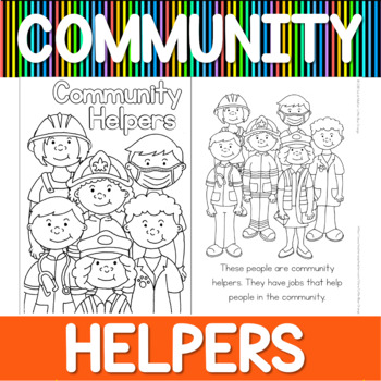 Community helpers coloring book by Little Blue Orange | TpT