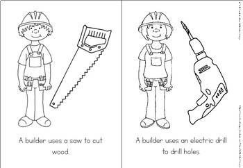 Community helpers coloring book - builders