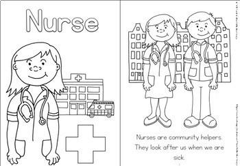 Community helpers coloring book - nurse