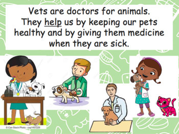 Community helpers - vets - veterinarian - pets - animals