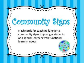 Communiy Signs Flash Cards *Freebie*