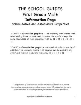 Common Core First Grade Commutative, Associative Properties 1.OA.3