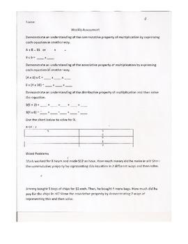 Commutative Distributive Associative Linear Equations Lesson Plans Assessments
