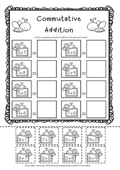 Commutative Property of Addition - Grade One Adding Strategy Worksheets