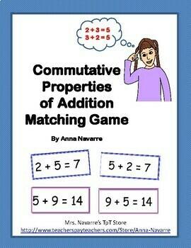 Commutative Properties of Addition Matching Game