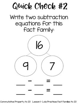 Commutative Property/Fact Families to 20 Guided Math Unit & Daily Printables
