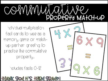 Commutative Property Match-Up - Multiplication