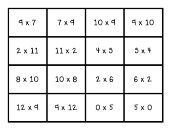 Commutative Property Memory Match