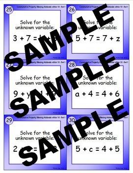 Commutative Property - Missing Addends within 10 (Set 1) Addition Task Cards