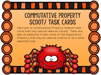 Commutative Property Of Addition SCOOT/ Task Cards