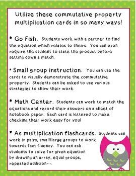 Commutative Property Owl Mutliplication Cards ~ 3.OA.5