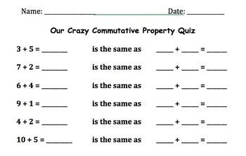 Commutative Property Quiz
