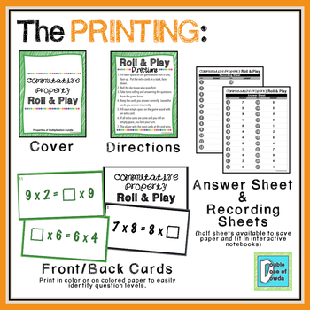 Commutative Property Roll and Play Dice Game