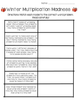 Commutative Property Winter Multiplication (Word Problems)
