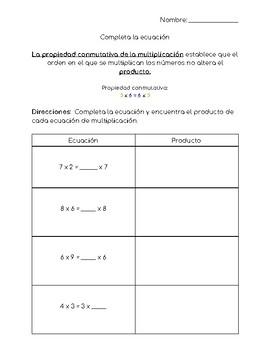 Commutative Property Worksheet